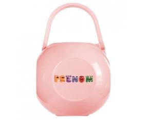 Boîte à tétine Prénom ou texte personnalisée alphabet style-54 de couleur Rose