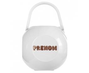 Boîte à tétine Prénom ou texte personnalisée alphabet style-56 de couleur Blanche