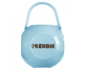 Boîte à tétine Prénom ou texte personnalisée alphabet style-56 de couleur Bleue
