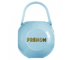 Boîte à tétine Prénom ou texte personnalisée alphabet style-57 de couleur Bleue