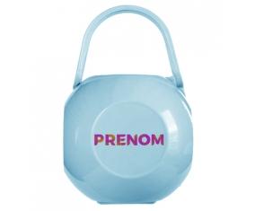 Boîte à tétine Prénom ou texte personnalisée alphabet style-63 de couleur Bleue
