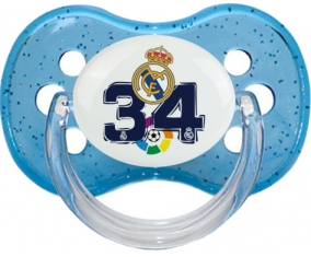 Real Madrid : Campeones 34 Liga design-4 : Bleu à paillette Tétine embout cerise