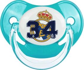 Real Madrid : Campeones 34 Liga design-5 : Bleue classique Tétine embout physiologique