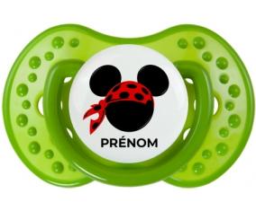 Disney Mickey foulard pirate rouge pois noirs avec prénom : Vert classique Tétine embout Lovi Dynamic