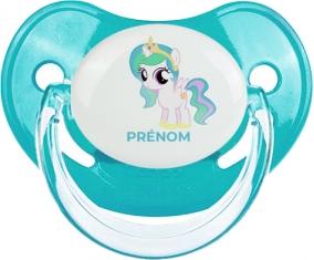 My Little Pony Princesse Célestia design-1 avec prénom : Bleue classique Tétine embout physiologique