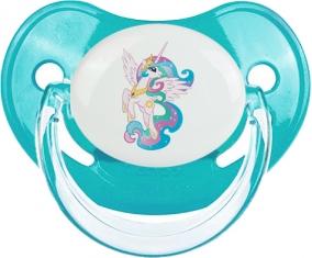 My Little Pony Princesse Célestia design-3 avec prénom : Bleue classique Tétine embout physiologique