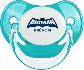 Batman logo bleu avec prénom : Sucette Physiologique personnalisée