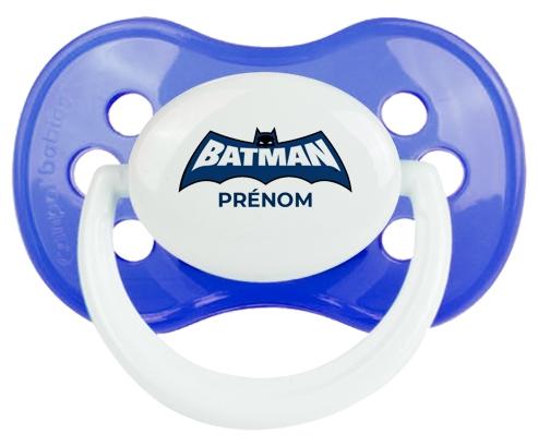 Batman logo bleu avec prénom : Bleu classique Tétine embout anatomique