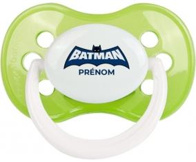 Batman logo bleu avec prénom : Vert classique Tétine embout anatomique