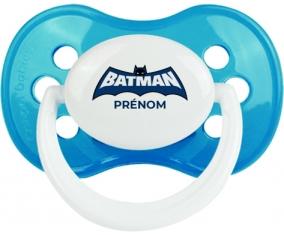 Batman logo bleu avec prénom : Cyan classique Tétine embout anatomique