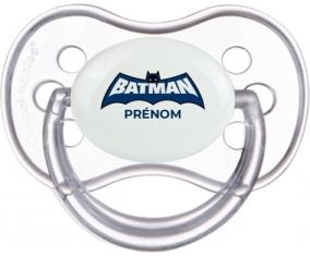 Batman logo bleu avec prénom : Transparente classique Tétine embout anatomique