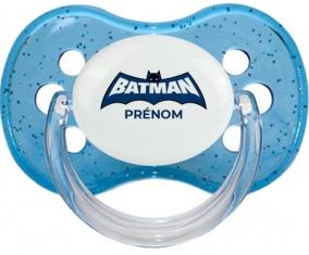 Batman logo bleu avec prénom : Sucette Cerise personnalisée