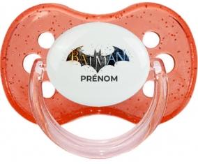 Batman logo design-1 avec prénom : Rouge à paillette Tétine embout cerise