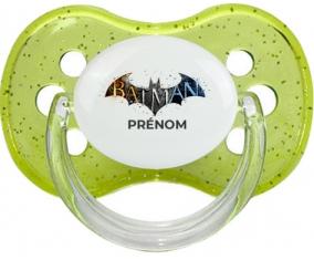 Batman logo design-1 avec prénom : Vert à paillette Tétine embout cerise