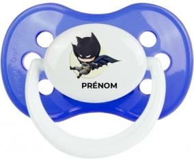 Batman kids logo design-1 avec prénom : Bleu classique Tétine embout anatomique