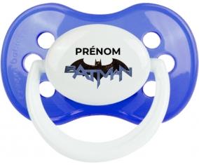 Batman logo design-3 avec prénom : Bleu classique Tétine embout anatomique