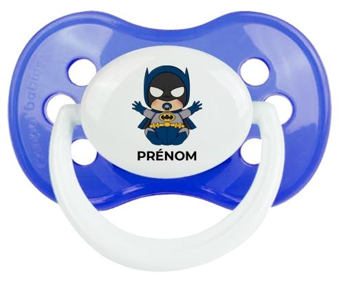 Batman kids logo design-3 avec prénom : Bleu classique Tétine embout anatomique