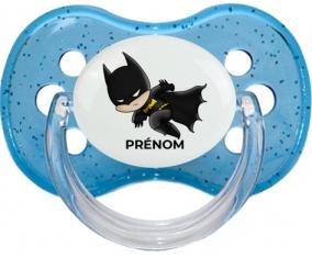 Batman kids logo design-4 avec prénom : Bleu à paillette Tétine embout cerise