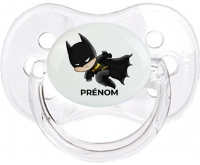 Batman kids logo design-4 avec prénom : Transparent classique Tétine embout cerise