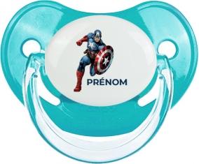 Captain America design-1 avec prénom : Bleue classique Tétine embout physiologique
