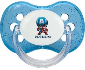 Captain America kids design-1 avec prénom : Bleu à paillette Tétine embout cerise