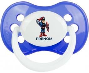 Captain America design-2 avec prénom : Bleu classique Tétine embout anatomique