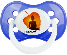 Bouddhisme méditation zen design-1 avec prénom : Bleu classique Tétine embout anatomique