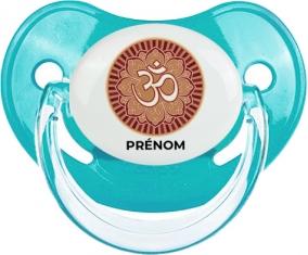 Om aum sanskrit design-1 avec prénom : Bleue classique Tétine embout physiologique