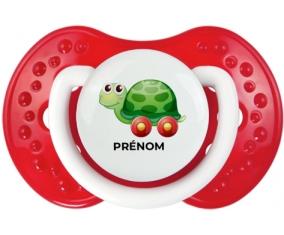 Jouet toys tortue avec roues avec prénom : Blanc-rouge classique Tétine embout Lovi Dynamic