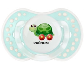Jouet toys tortue avec roues avec prénom : Retro-turquoise-lagon classique Tétine embout Lovi Dynamic
