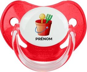 Jouet toys jouet de plage design-1 avec prénom : Rouge à paillette Tétine embout physiologique