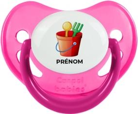 Jouet toys jouet de plage design-1 avec prénom : Rose phosphorescente Tétine embout physiologique