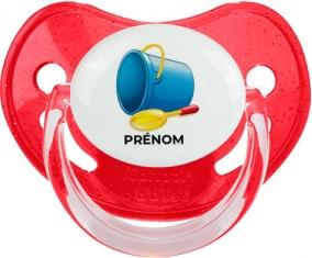 Jouet toys jouet de plage design-2 avec prénom : Rouge à paillette Tétine embout physiologique