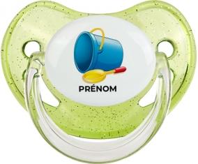 Jouet toys jouet de plage design-2 avec prénom : Vert à paillette Tétine embout physiologique