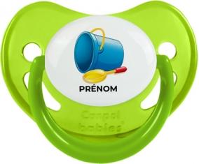 Jouet toys jouet de plage design-2 avec prénom : Vert phosphorescente Tétine embout physiologique