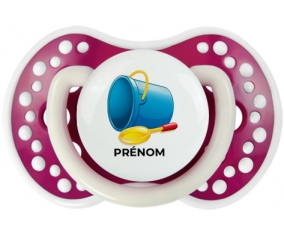 Jouet toys jouet de plage design-2 avec prénom : Fuchsia phosphorescente Tétine embout Lovi Dynamic