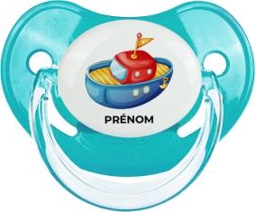 Jouet toys bateau design-4 avec prénom : Bleue classique Tétine embout physiologique
