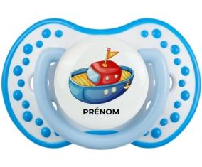 Jouet toys bateau design-4 avec prénom : Blanc-bleu phosphorescente Tétine embout Lovi Dynamic