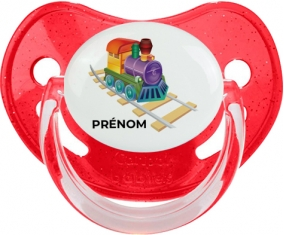 Jouet toys train design-2 avec prénom : Rouge à paillette Tétine embout physiologique
