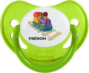 Jouet toys train design-2 avec prénom : Vert phosphorescente Tétine embout physiologique
