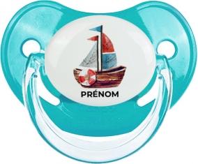 Peinture bateau avec prénom : Bleue classique Tétine embout physiologique