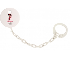Attache-tétineDisney Diablesse Minnie Oreilles noires Nœud rose pois blancs avec prénom couleur Blanc