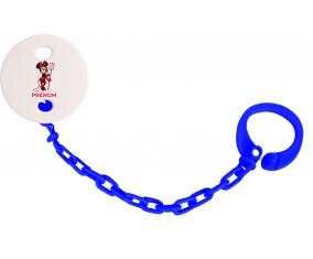 Attache-tétineDisney Diablesse Minnie Oreilles noires Nœud rose pois blancs avec prénom couleur Marine