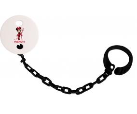 Attache-tétineDisney Diablesse Minnie Oreilles noires Nœud rose pois blancs avec prénom couleur Noire