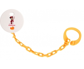 Attache-tétineDisney Diablesse Minnie Oreilles noires Nœud rose pois blancs avec prénom couleur Orange