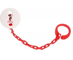 Attache-tétineDisney Diablesse Minnie Oreilles noires Nœud rose pois blancs avec prénom couleur Rouge