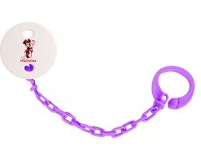 Attache-tétineDisney Diablesse Minnie Oreilles noires Nœud rose pois blancs avec prénom couleur Violet