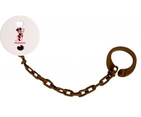 Attache-tétineDisney Diablesse Minnie Oreilles noires Nœud rose pois blancs avec prénom couleur Marron