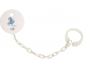 Attache-tétineMy Little Pony Princesse Célestia design-2 avec prénom couleur Blanc