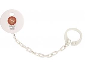 Attache-tétineOm aum sanskrit design-1 avec prénom couleur Blanc